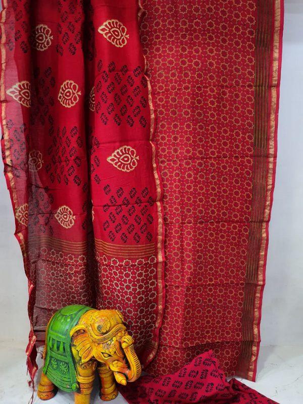 Partywear Crimson Superior quality chanderi suit set