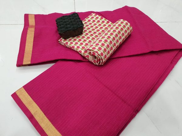 Partywear wear Cerise kota doria saree with blouse