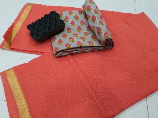 Raspberry kota doria saree with blouse