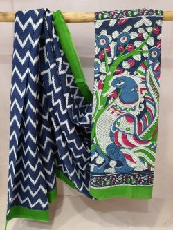 Erin and Prussian blue Cotton saree with blouse