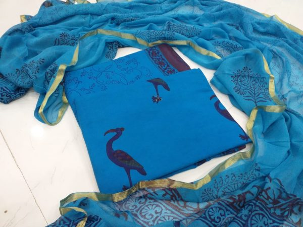 Blue crane print zari border suit in pure cotton