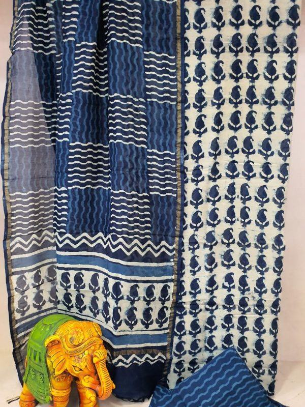 Party wear Traditional blue and White chanderi suit set