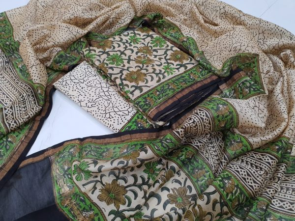 Office wear Traditional Emerald and Beige chanderi suit set