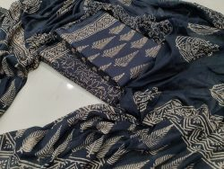 Prussian Blue Superior quality Mulmul dupatta suit