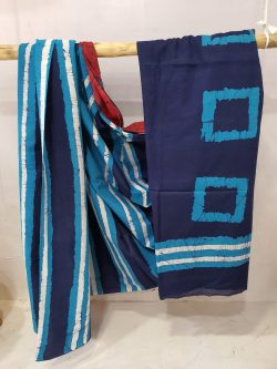 Aazure and Midnight Blue cotton saree with blouse
