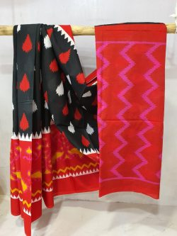 Red and Black Superior quality cotton saree with blouse