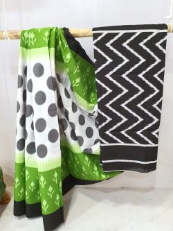 Chartreuse green and White cotton saree with blouse