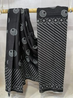 Black Superior quality cotton saree with blouse
