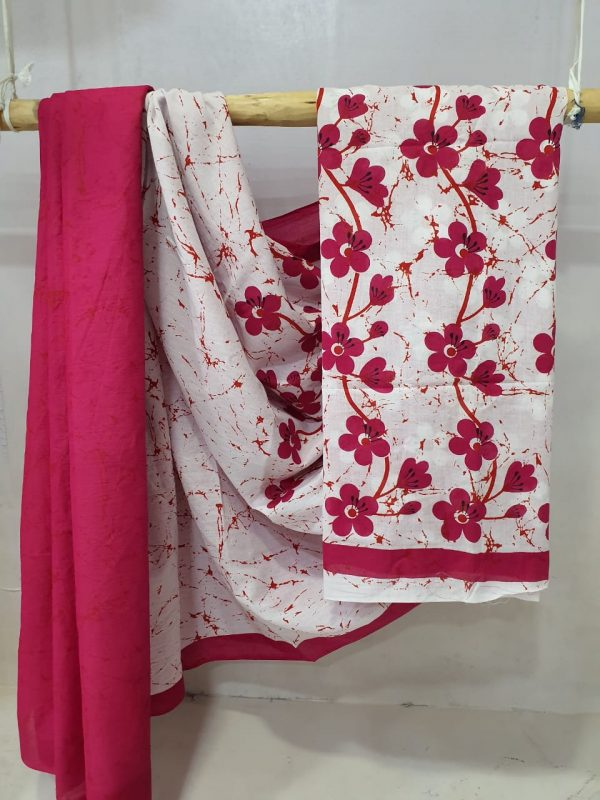 Cerise and White Exclusive Cotton saree with blouse