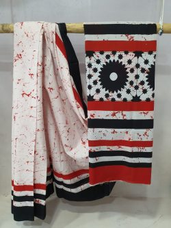 Summer wear Sangria and white cotton saree with blouse