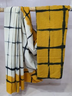 White shibori print cotton mulmul saree