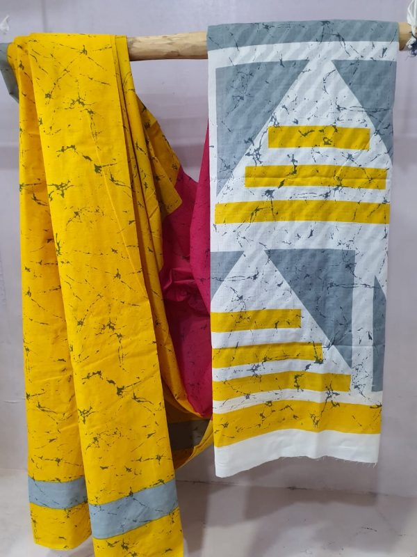 summer wear Amber and White cotton saree with blouse