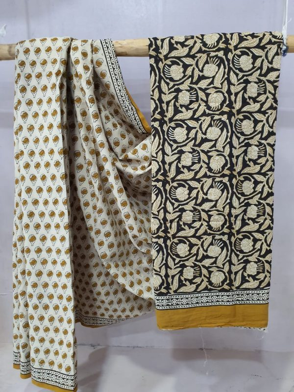 Copper and beige Cotton saree with blouse
