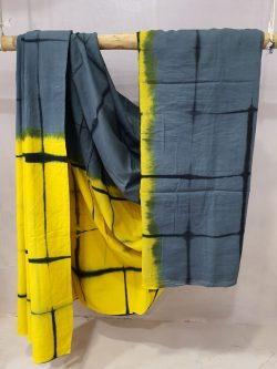 Lemon and gray Shibori print cotton mulmul saree