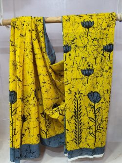 Daily wear Yellow and Slate gray Superior quality cotton saree