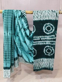 Daily wear teal and cyan cotton mulmul saree