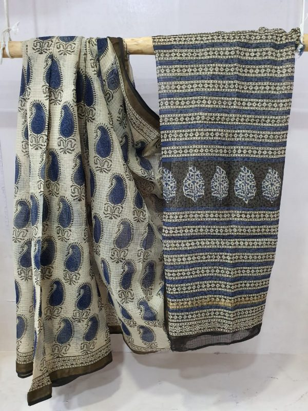 Summer wear Silver and blue kota doria saree with blouse