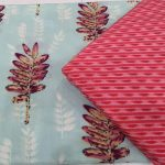Cyan and Crimson cotton dress material for Women
