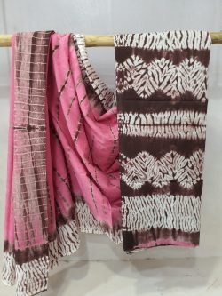 Pink and Seal Brown cotton mulmul saree