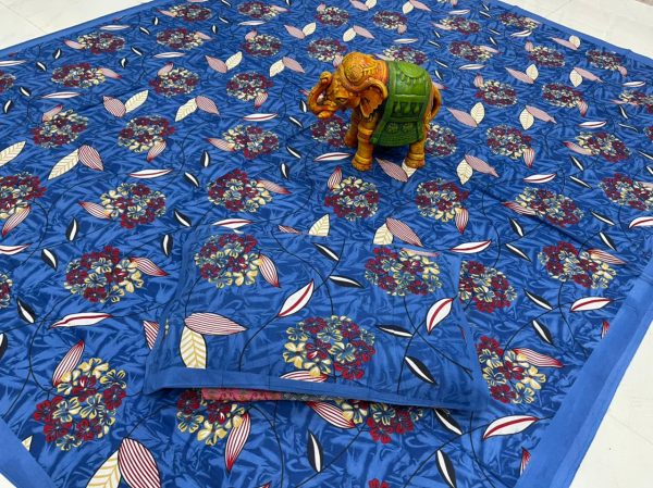 Blue floral print  bedsheet with pillow cover