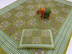 Olive Pigment print pure cotton bed sheet