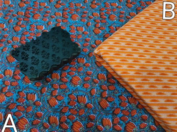 Azure and orange running material set for women
