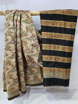 Black and tan chanderi silk saree for ladies