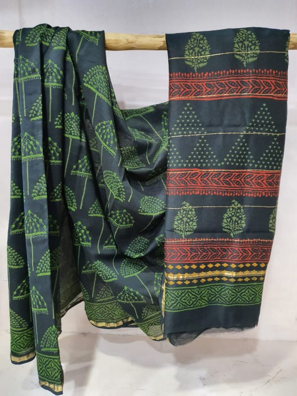 Teal Blue and Spring green chanderi Silk saree with blouse