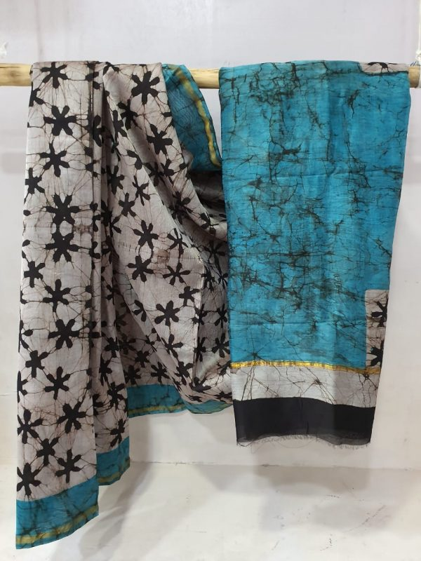 Cerulean Chanderi silk saree with blouse for women