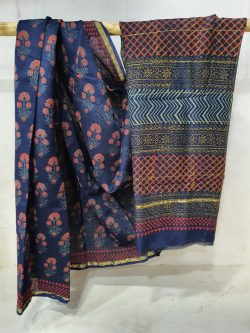 Navy blue Chanderi silk saree with blouse for women