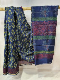 Sapphire Chanderi silk saree with blouse for ladies