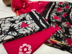 Cherry Red  and black casual wear zari border cotton suit for women