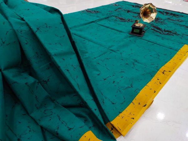 Regular wear Teal Cotton saree with blouse