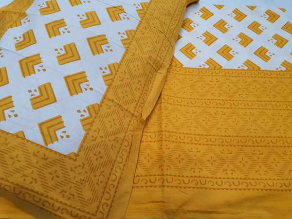 Gold  jaipuri bedsheet with pillow cover