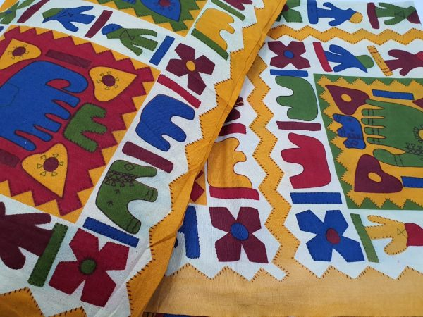 Amber and white jaipuri bedsheet with pillow cover