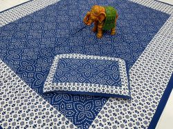 Blue pure cotton bedsheet with 2 pillow cover