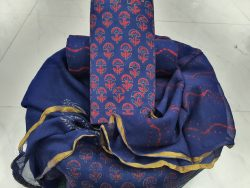 Regular wear Persian blue cotton suit Natural Zari border suit set