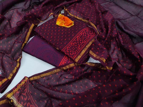 Partywear  wear beautiful Flower Byzantium Pure chanderi suit