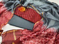 Partywear Sangria and Gray Superior quality chanderi suit set