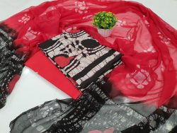 Cherry Red and black Pure cotton suit set with chiffon dupatta