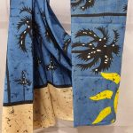 Daily wear Baby blue and Champagne Cotton saree with blouse