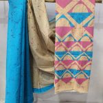 Regular wear Azure and Champagne Cotton saree with blouse