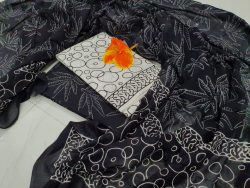 Black and white cotton mulmul dupatta suit