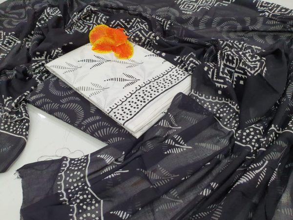 Black and white Cotton salwar kameez set with mulmul dupatta suit