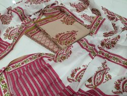 Blush and white Cotton salwar kameez set with mulmul dupatta suit