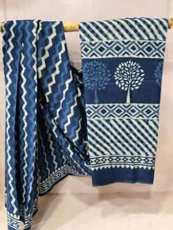 Persian blue mulmul saree with blouse