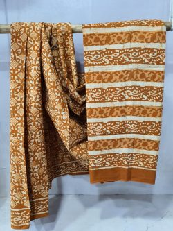 Bronze mulmul saree with blouse for ladies