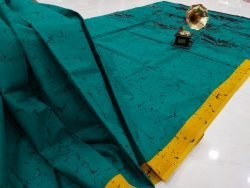 Regular wear Teal Cotton saree with blouse