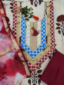 Burgundy and beige Gota Embroided cotton suit with Kota silk dupatta