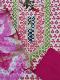 Partywear pink and White Gota Embroided cotton suit with Kota silk dupatta